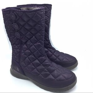 North Face Purple Quilted Winter Boots 9 Fleece